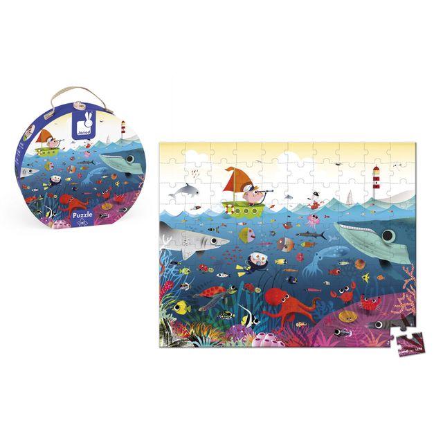 JANOD Puzzle 100 pièces : Valisette carrée Le monde sous-marin
