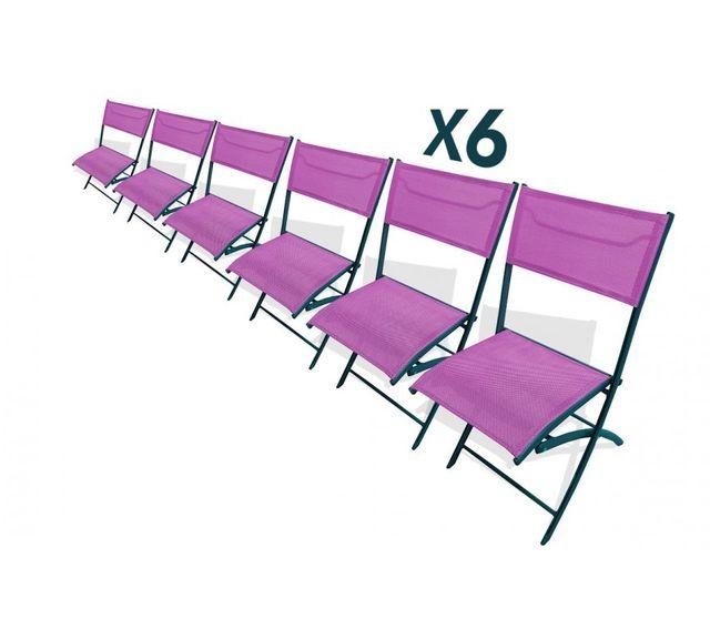 Dcb Garden Lot de 6 chaises pliantes prunes