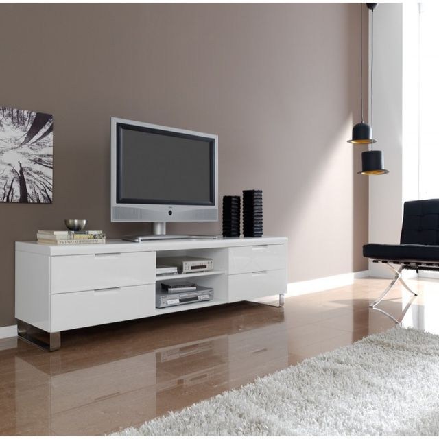 Ma Maison Mes Tendances Meuble Tv 4 tiroirs et 1 étagère en bois laqué blanc brillant Polo - L 180 x l 45 x H 55
