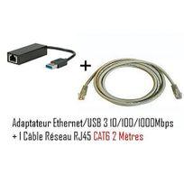 Cabling - adaptateur Usb mâle vers connecteur Rj45 v3 Gigabit + Cable ethernet Rj45 Cat6 2 mètres