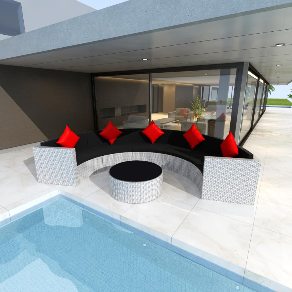 Rocambolesk - Superbe Salon de jardin demi-rond en polyrotin blanc Neuf