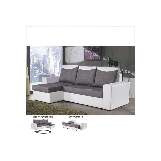Canapé d'angle réversible convertible bicolore gris et blanc Attol