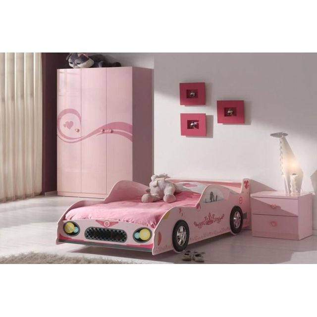 Ensemble 3 pièces pour chambre fille avec lit voiture 90x200 cm chevet et  armoire 3 portes coloris rose