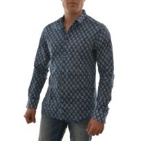 Scotch and soda - chemise longsleeve all-over printed shirt in big indian gr bleu Xl