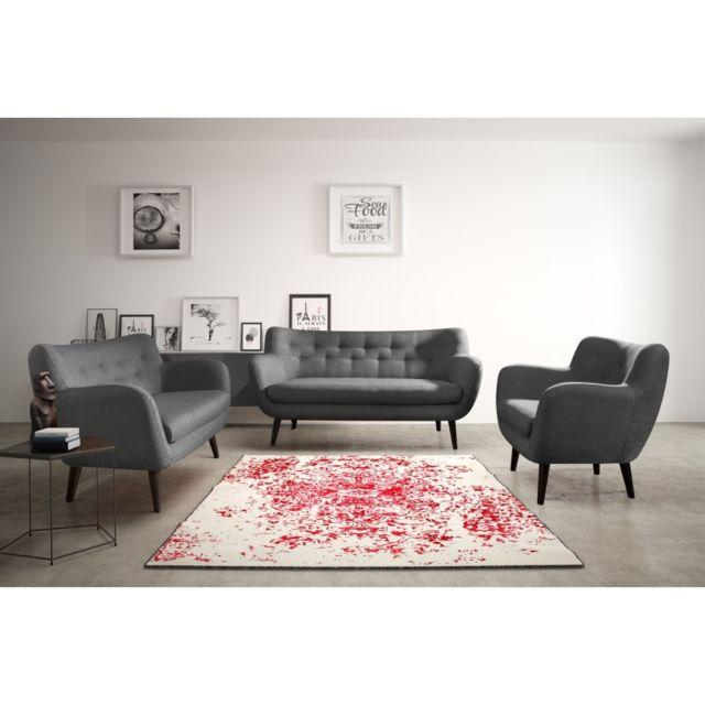 Rocambolesk Canapé Adele 3 sawana 05 antracite avec pieds noir sofa divan