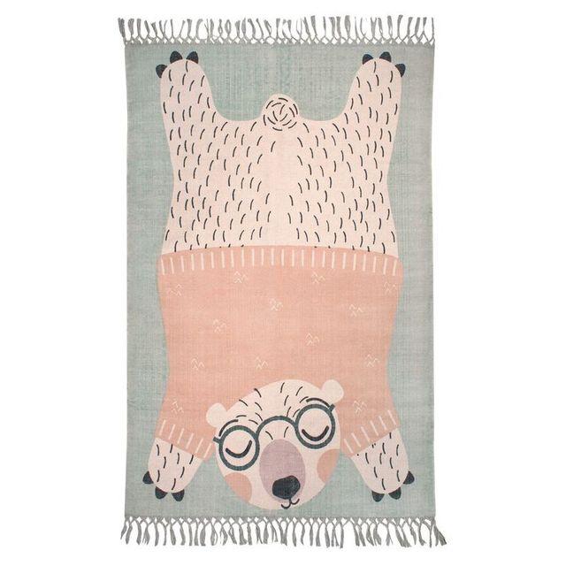 Nattiot Tapis Oden l'ourson à lunettes vert, rectangle pour Chambre bébé par - Couleur - Vert, Taille - 110 / 170 cm