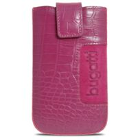 Bugatti Italy - Etui Pouch SlimCase Croco Cuir Véritable, Rose - Taille M 73x122mm