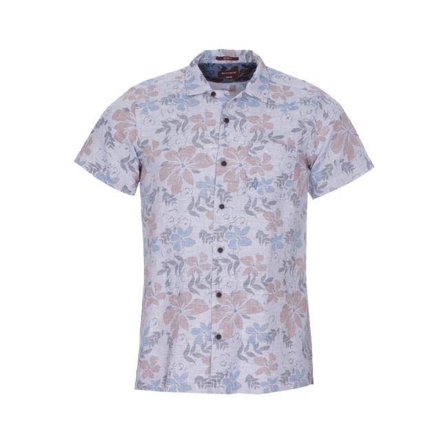 Mcs Chemise manches courtes en coton et lin bleu acier à motifs fleuris
