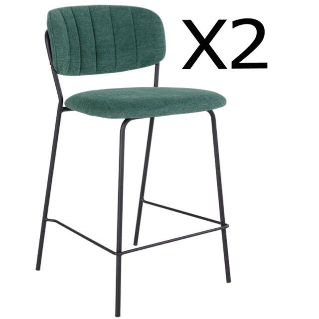 Pegane Lot de 2 chaises de bar en métal et tissu vert foncé - 54,5 x 48 x 90 cm