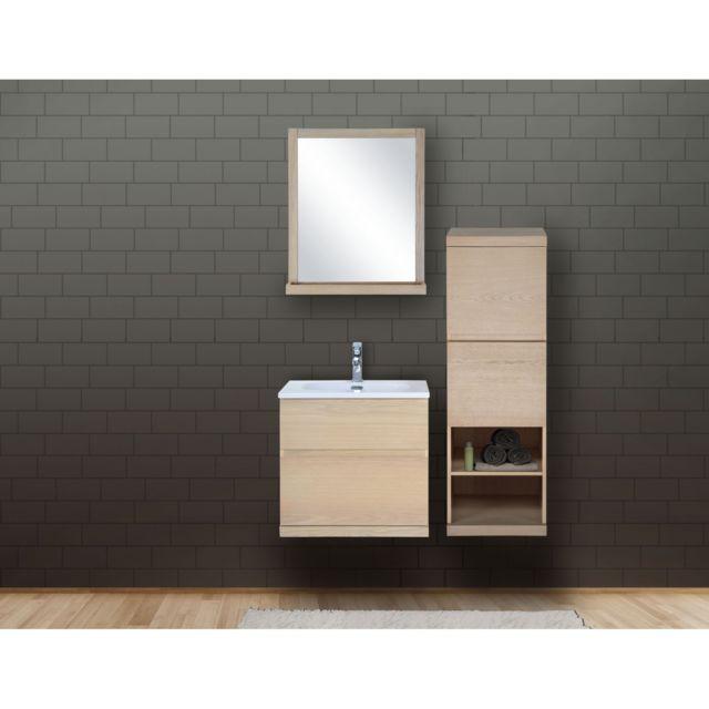 Ensemble Salle De Bain Bois 60 Cm Meuble + Vasque + Miroir + Demi-colonne  Enio