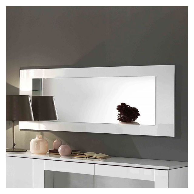 Dansmamaison Miroir rectangulaire laqué blanc - Potiri - L 150 x l 2 x H 60 cm