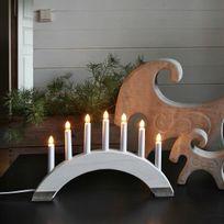 Xmas Living Glass - Viking - Chandelier Bois blanc 7 bougies à ampoules L41,5cm - Lampe à poser designé par