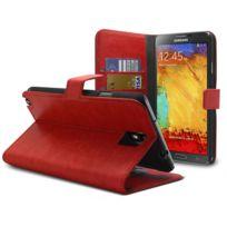 Caseink - Coque Housse Etui Smart Cover Samsung Galaxy Note 3 Neo / Lite Cuirette Retro Rouge