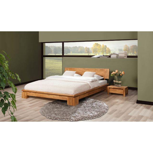 House And Garden Lit design 140 X 190 chêne massif naturel - Vinci Bas