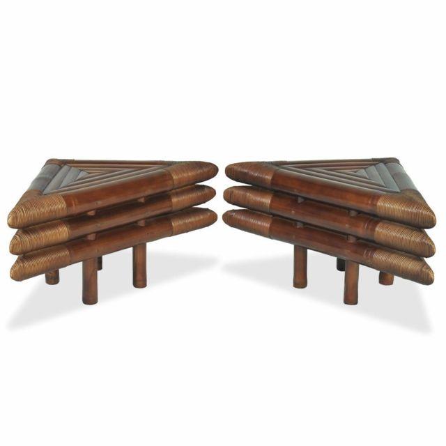 Helloshop26 Table de nuit chevet commode armoire meuble chambre 2 pcs 60 x 60 x 40 cm bambou marron foncé 1402076