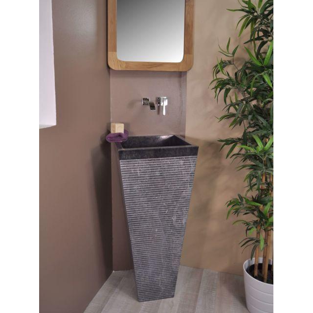 wanda collection vasque salle de bain sur pied en pierre carr guizeh noir