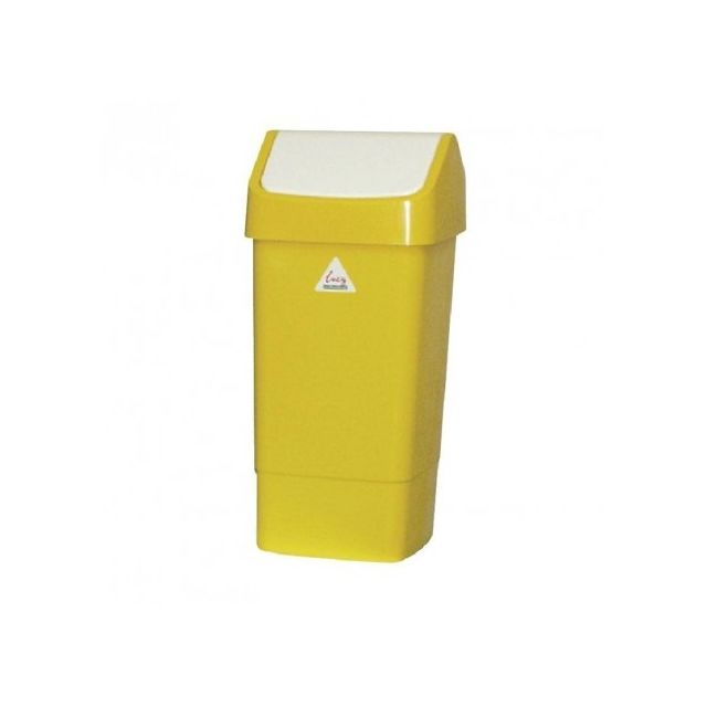 Poubelle jaune à couvercle battant 50 litres - Scot Young Cc080