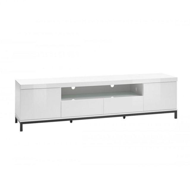 Inside 75 Meuble Tv Granville blanc laque brillante 2 portes 2 tiroirs 1 niche piétement métal noir 190