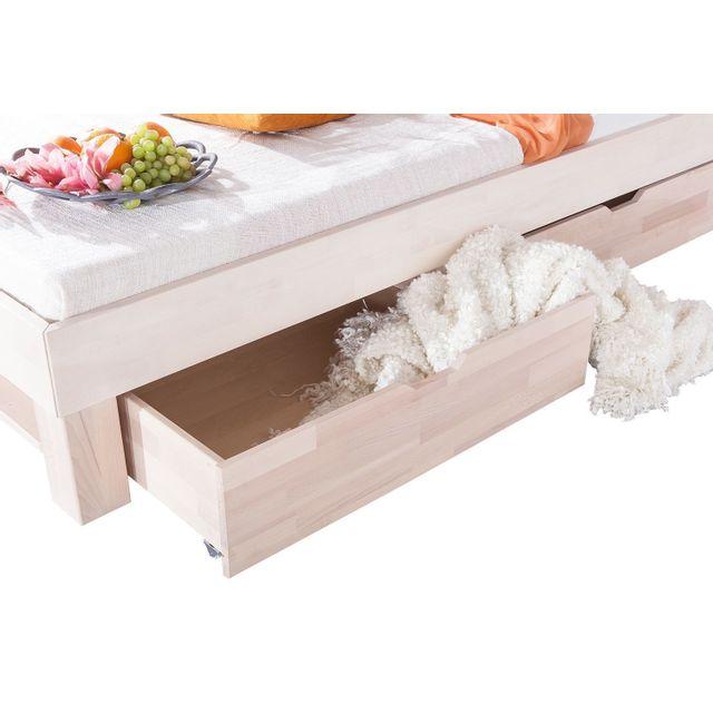 Comforium Lot de 2 tiroirs de rangement en hêtre massif pour lit 90x200 cm coloris blanc huilé