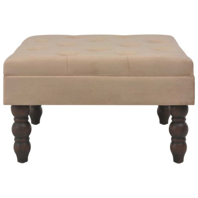 Icaverne - Tables d'extrémité ensemble Tabouret Beige 60x60x36 cm Velours