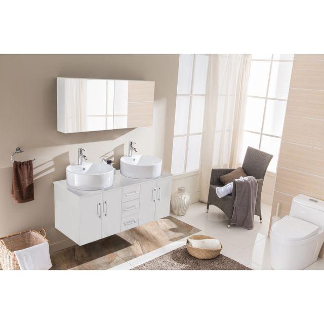 Concept Usine Ambre Blanc: ensemble salle de bain 2 meubles + 2 vasques + 1 mirroir