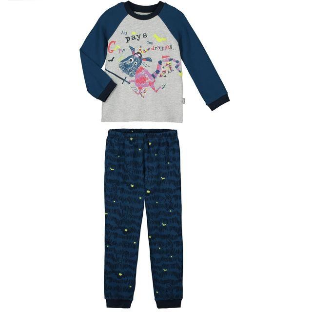petit beguin pyjama gar on manches longues dragons couleur bleu longueur des manches. Black Bedroom Furniture Sets. Home Design Ideas