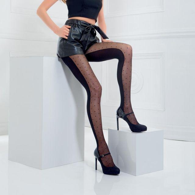 Pomm POIRE - Collant fantaisie moitié opaque moitié plumetis noir Linda 67e4924dff6