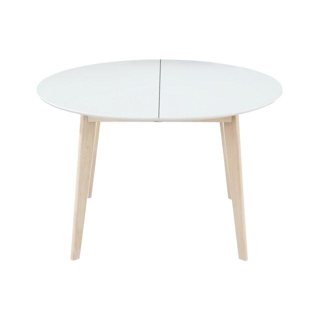 Miliboo Table A Manger Design Ronde Extensible Blanc Et Bois