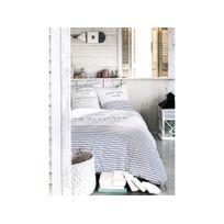 Today - Parure housse de couette + taie coton rayure écriture bleu/blanc 240x220cm Beach Vacationnc