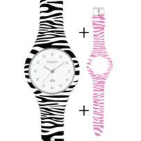 Naughty Watch Montres Femme - Pack Montre Femme Naughty Silicone ornée de Cristaux Swarovski® + 2 bracelets Zébrés