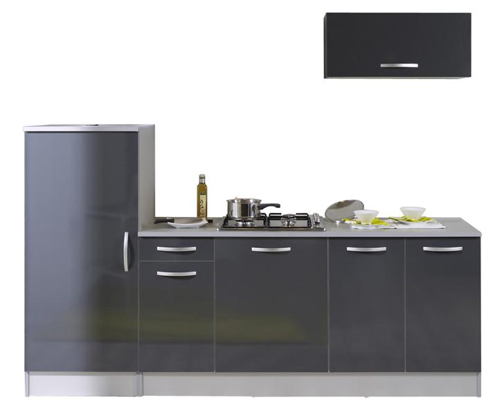 Pack cuisine 3 meubles Adeline - gris brillant