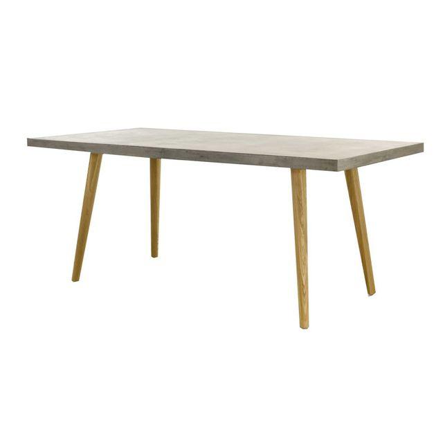 Zago Table à manger en béton et piètement en bois L180 cm Beton