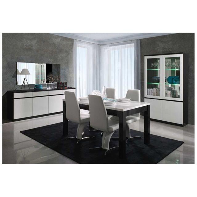 CHLOE DESIGN Bahut design FABIA - 165 - Blanc et noir