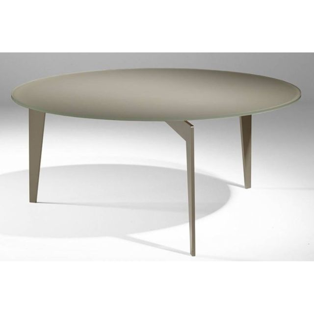 Inside 75 Table basse ronde Miky en verre taupe