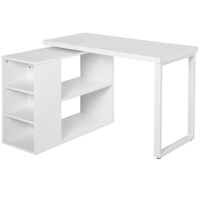 HOMCOM Bureau Informatique Table Informatique Modulable Design Contemporain Pivotant 2 Plateaux Multi-rangements 120 x 108 x 76