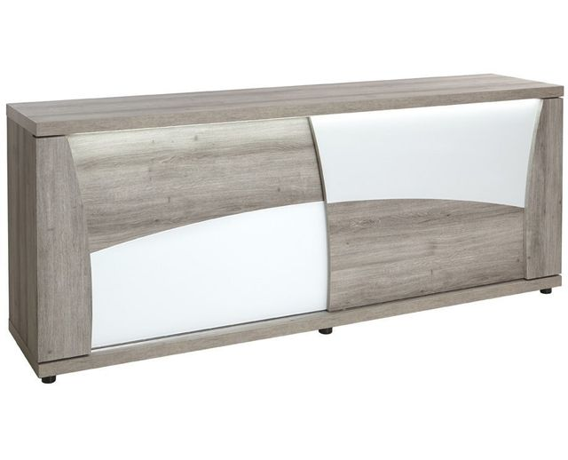 Comforium Bahut moderne 220 cm à 2 portes coulissantes coloris blanc et mara avec éclairage Led