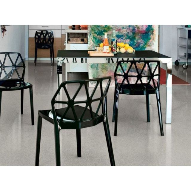 Inside 75 Table repas extensible Key 130x89 plateau verre dépoli noir  piétement acier chromé d5f0da75ac04