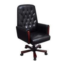 Rocambolesk - Superbe Fauteuil de bureau chesterfield noir en cuir artificiel neuf