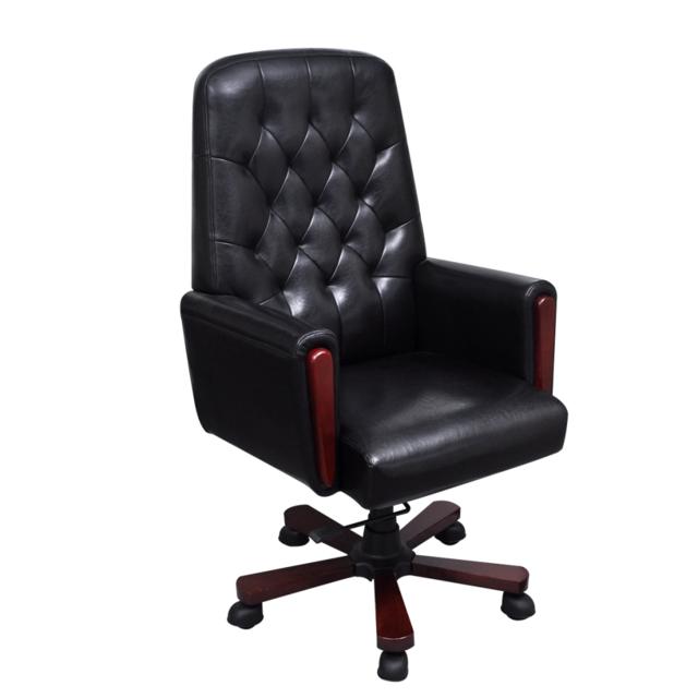 rocambolesk superbe fauteuil de bureau chesterfield noir en cuir artificiel neuf pas cher. Black Bedroom Furniture Sets. Home Design Ideas