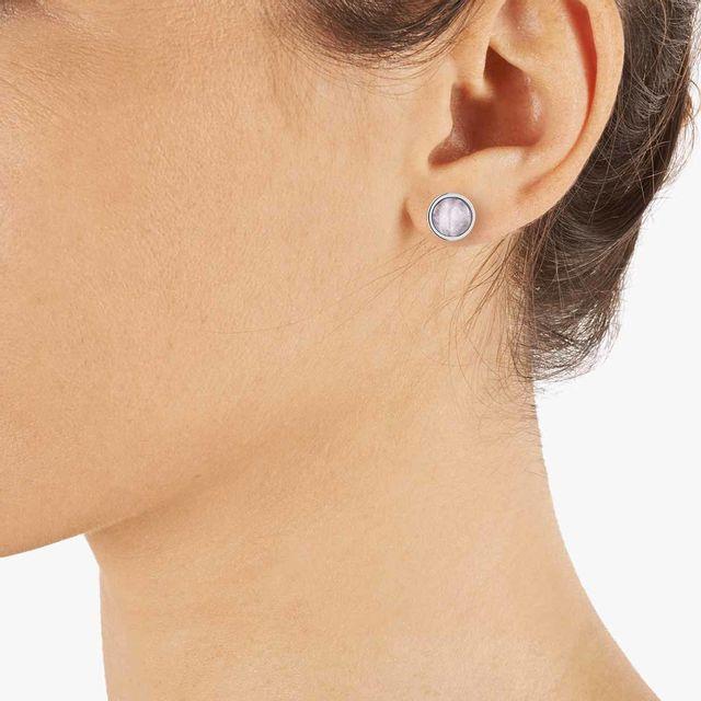 Alison - Boucles d'oreilles en Acier et Quartz Rose