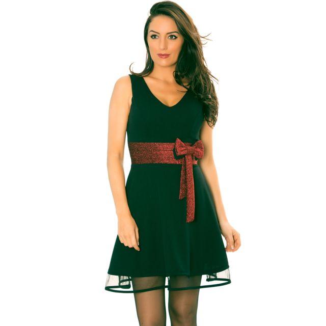 6952a2777e2e5 Grossiste-en-ligne - Magnifique robe patineuse noire avec noeud bordeaux  brillant et voilage en bas Rouge - pas cher Achat / Vente Robes -  RueDuCommerce