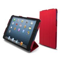 Caseink - Coque Housse Etui Smart Cover Ultra Slim iPad Mini Cuir Eco Rouge