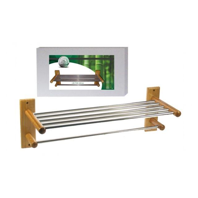 no name porte serviettes murale bambou et inox pour. Black Bedroom Furniture Sets. Home Design Ideas