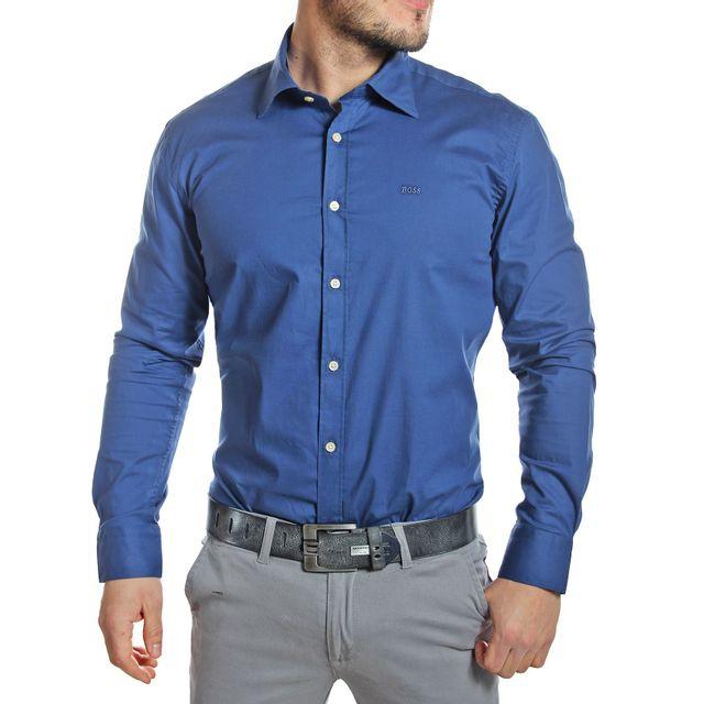 Hugo Boss - Chemise homme col italien bleu royal - pas cher Achat   Vente  Chemise homme - RueDuCommerce 3a0ffb9616da