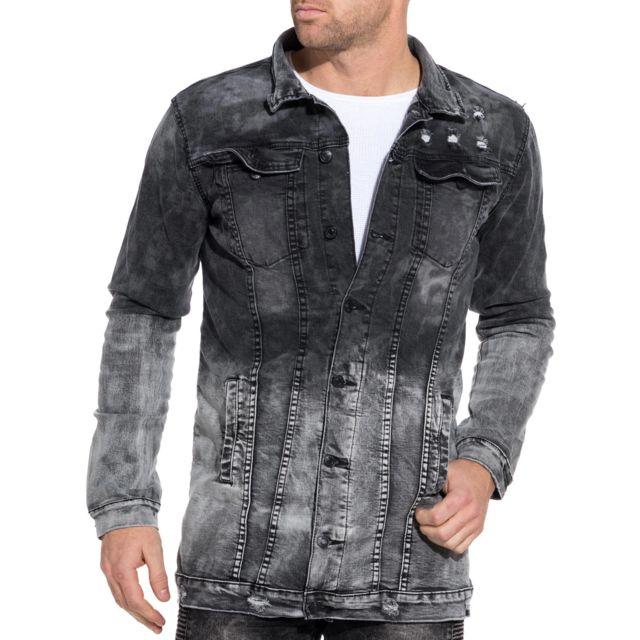 BLZ Jeans Veste en jean noir délavé oversize usé