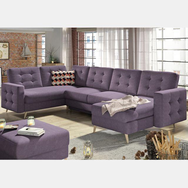 Nouvomeuble Canapé d'angle en tissu violet Atsuko