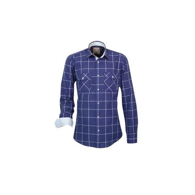 Meadrine Chemise Homme cintrée Bleu à Carreaux Fenêtre style Western poches poitrines