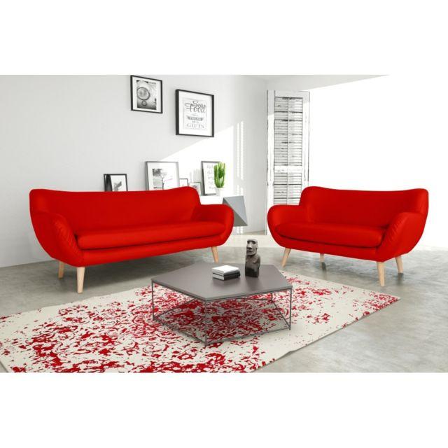 Rocambolesk Canapé Adele 3+2 Pu soft 10 rouge avec pieds naturels sofa divan