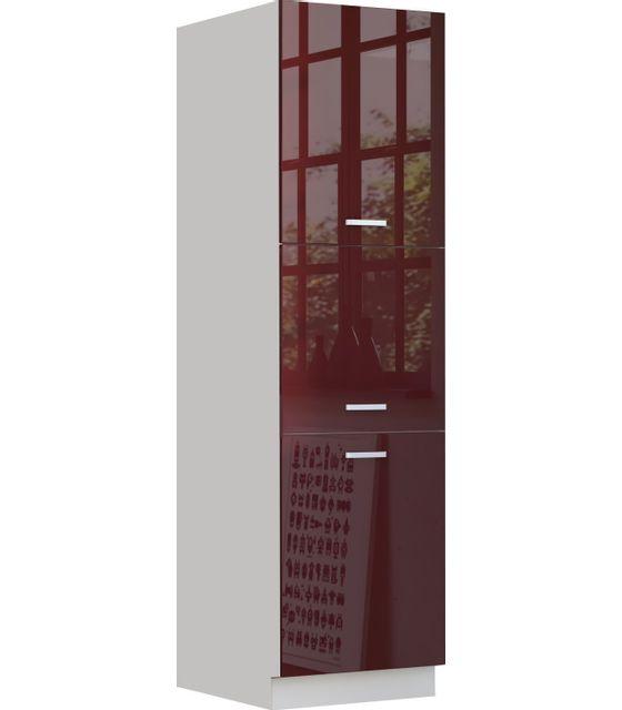 COMFORIUM Armoire colonne de cuisine design 60 cm avec 3 portes coloris blanc mat et rouge laqué