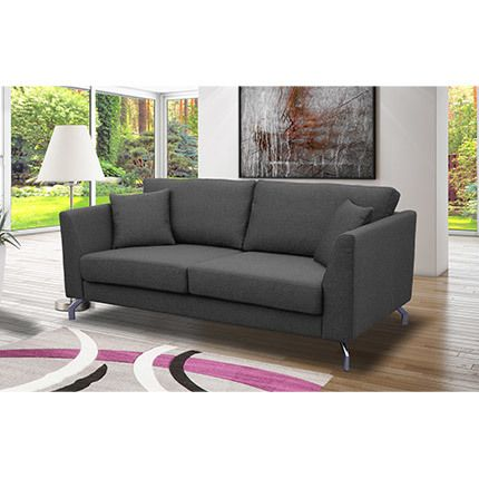 Canapé 2 places fixes pieds métal chromé en tissu gris - Ines